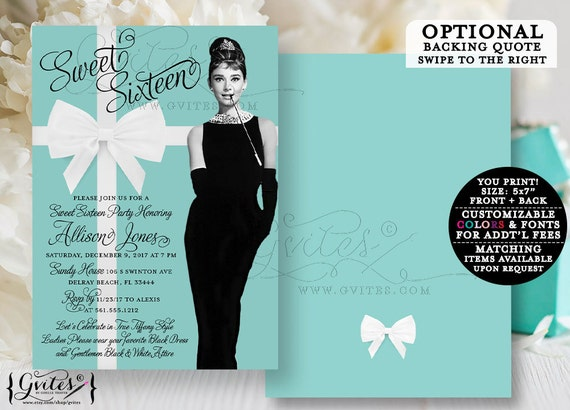 Audrey Hepburn sweet 16 invitation, breakfast at and co invites blue theme party printable, customizable, digital file, double sided, 5x7