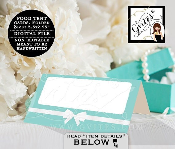 "Food Tent Cards - Instant Download - Digital File, breakfast at bridal, birthday,  turquoise blue, white bow. Folded: 3.5x2.25"" 4 Per/Sheet"