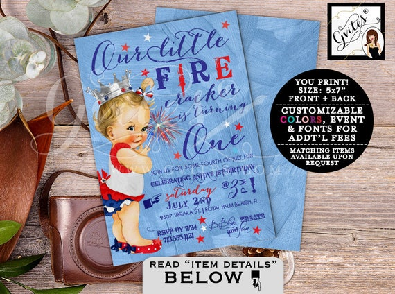 First birthday 4th of July invitations, GIRL patriotic birthday, our little firecracker is turning one, vintage red white & blue. PRINTABLE.