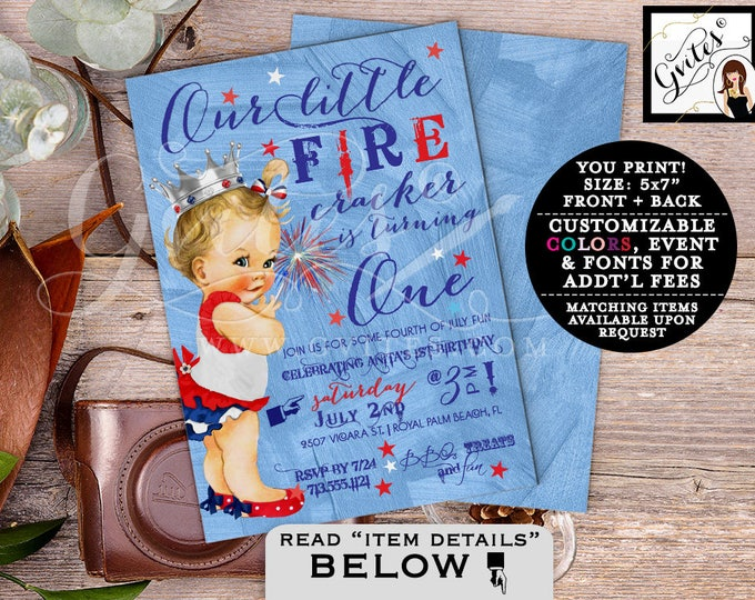 First birthday 4th of July invitations, GIRL patriotic birthday, our little firecracker is turning one, vintage red white & blue. Gvites