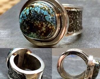 Ladies Tufa Cast sterling silver and turquoise ring, size 5.5