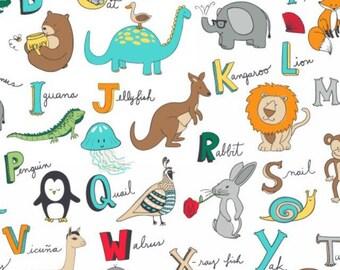 Alphabet Animals FLEECE Fabric [[Half Yard//by the yard]]