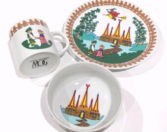 Hansel and Gretel Set, MOG Plate Bowl Mug, Metropolitan Opera Guild Set, Childrens Fairy Tales, Hansel Gretel Mug, Hansel Gretel Plate