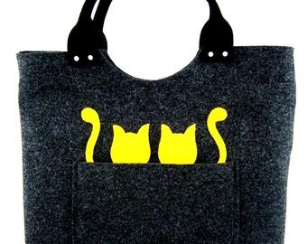 Felt purse Cats handbag Bag for women Dark grey bag Felt bag Designer handbag Felted bag Modern