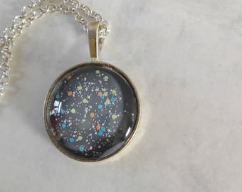 Pendant metal without nickel and cabochon speckled grey glass - gift for her
