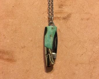 Teal Bone Mini Colt Pocket Knife Necklace
