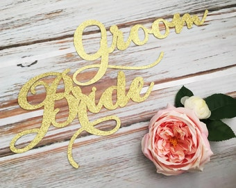 Wedding Chair Signs, Bride and Groom Chair Signs, Bride and Groom Signs, Chair Signs, Gold Wedding Sign, Gold Wedding, Script Wording