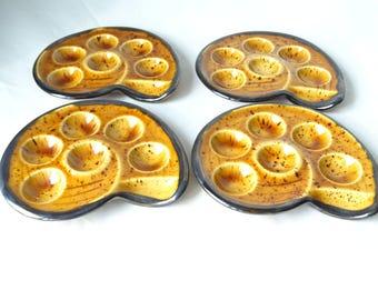 Vintage Snail Plates, Escargots Plates, Boch La Louviere Snail Plates