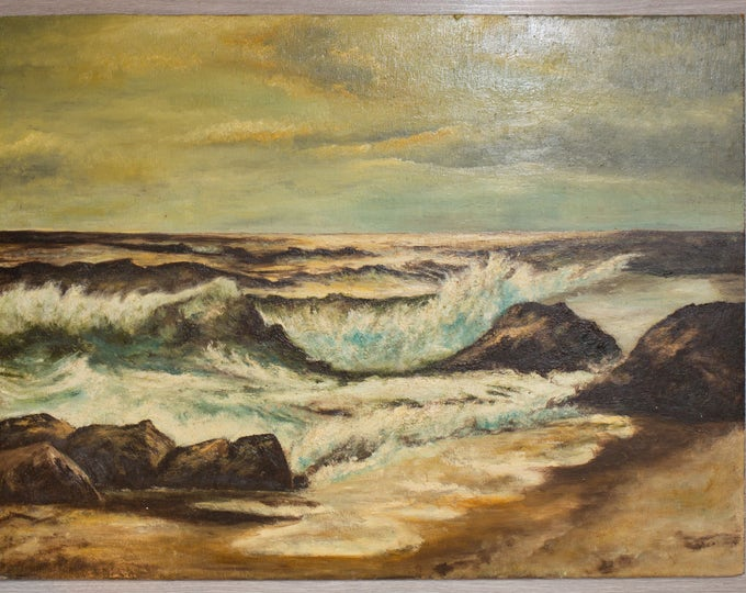 Original Antique Painting on Board / Moody Ocean Waves Splashing Against Beach Rocks / Beachscape by the Sea Tides Shore Nautical Artwork