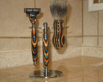Handcrafted Southwest Premium Razor & Brush Set (with AAA Badger Brush) includes Gift Box
