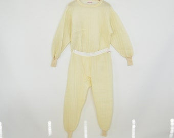 Quilted Thermal Long Johns Set XL Top and Bottom WearGuard Vintage Cream Colored Long Johns Shirt and Pants Like new