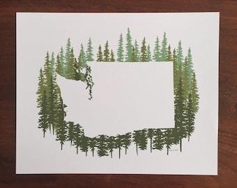 Washington State Print - Green Pines