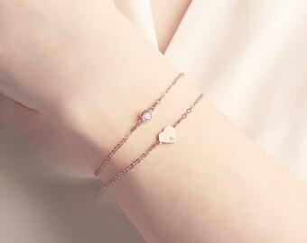 Rose Gold Heart Bracelet Set - stacking bracelets - dainty initial bracelet - gift for her - Mother's day gift - personalised bracelet