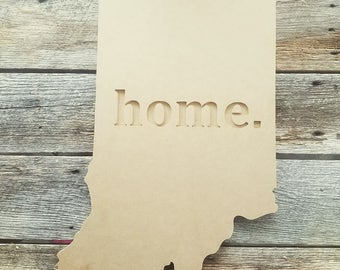 home. wooden state cutout