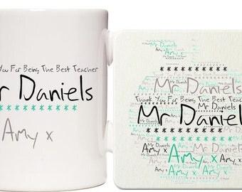 Teacher Word Art Personalised Mug & Coaster