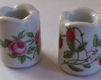 Vintage Funny Design Mini Ceramic Roses and Strawberry Candle Holders West Germany