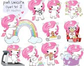 Pink unicorn Set 2 ,Kawaii Unicorn,cute unicorn clipart instant download PNG file - 300 dpi