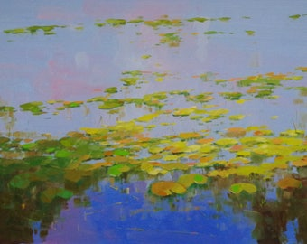 Waterlilies, oil Painting, Original hand made artwork, large size painting, Impressionism, One of a kind