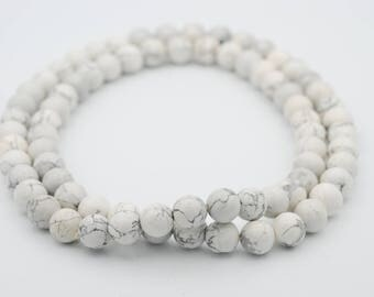 """12mm Smooth Round Shape White Howlite bead, 16"""" long"""