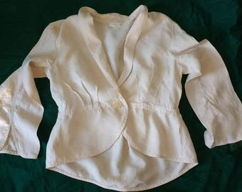 J.JILL 100% Linen Champagne Beige Jacket with Peplum  Pre-Owned Small