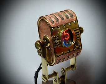 """Steampunk pocket (and + desktop) watch """"Michael J."""" , with two vacuum Nixie lamps."""
