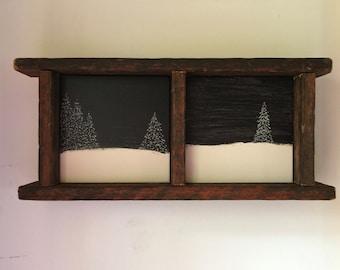 Primitive Wood Engraving, Dremel Art, Rustic Home Decor, Cabin Decor, Black White, Trees, Snow, Winter, New Home Gift, Office, Shelf Mantle
