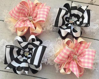 Striped bow and Plaid bow