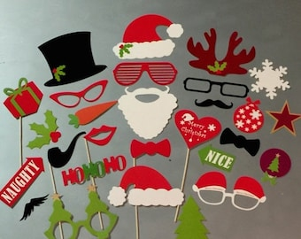 ON SALE Photobooth Props-Photo Booth Props 28 Piece Set - Party Photo Props- Santa Props