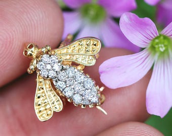 Vintage Bee Pin Brooch with Diamonds in 14kt Two Tone Gold .50ctw