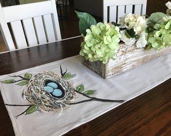 Table Runner, Robin's Nest, Robin's Eggs, Robin Blue, Spring, Summer, Holiday, Handmade, Hand-painted