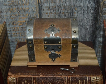 Antique German Small Trunk Box Ornate Wood Jewelry Trinket Nailheads with Key