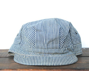 Vintage Faded Blank Railroad Train Engineer Hat Hickory Stripe Denim Hat Cap Large 7 1/2