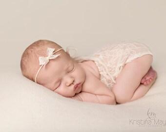 "Newborn Girl Romper- ""Charlotte"" ivory lace newborn romper with headband. Newborn girl photo outfit, newborn girl photo prop, neutral, lace"