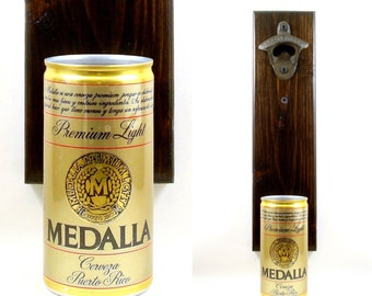 Puerto Rico Beer Bottle Opener With A Medalla Cerveza Beer Can Cap Catcher - Father's Day, Brother, Or Groomsmen Gift Idea For The Man Cave