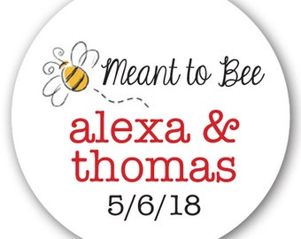 "63 Glossy 1"" Round Sticker Label Tags - Custom Wedding Favor & Gift Tags - Meant to Bee"