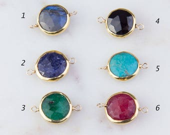 Round Gemstone Station Gold Filled Link Connector, Dyed Emerald, Sapphire, Ruby, Arizona Turquoise, Black Spinel, Labradorite, CM43GC