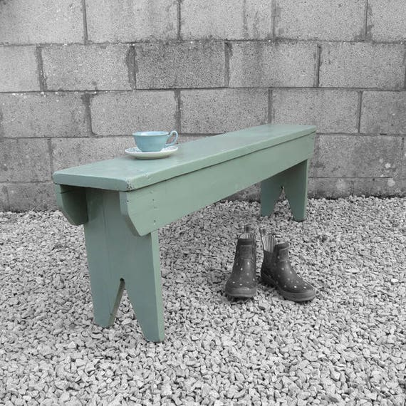 Green Rustic Bench Seat Traditional Painted Garden Hall