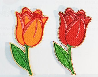 High Quality Flower Tulip (4 x 8 cm) Embroidered Applique Iron on Patch (NTN)
