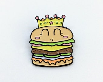 Burger Queen Enamel Pin - soft multi-coloured hamburger enamel pin