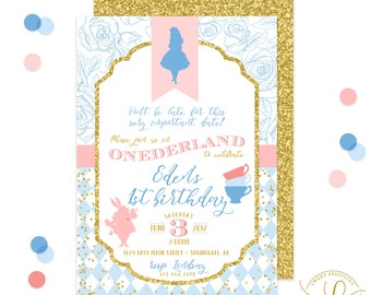 Alice in Onederland Invitation | Onederland Party | Tea Party Invitation | First Birthday Party