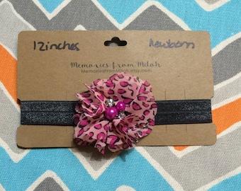 Newborn Sized Cheetah Print Flower Headband w/ Pearl & Jewel Center (12 inches)