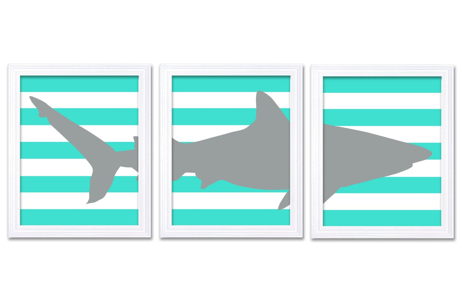 Shark Nursery Art Set of 3 Prints Aqua Blue Grey Gray Stripes Boy Art Nursery Print Child Kids Room