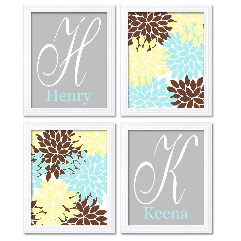 Twins Nursery Art Blue Yellow Brown Grey Flowers Personalized Name Monogram Custom Letter Set of 4 P