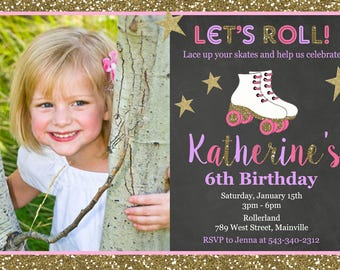 Roller Skating Birthday Party Invitation - Printable or Printed with FREE SHIPPING
