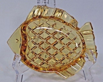 Bohemian Czech Glass Ashtray Crystal Fish Design Diamond Shaped Cut Vintage