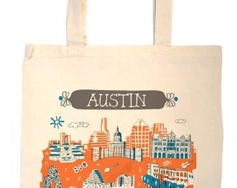 Austin Tote Bag-City Tote-Texas Bag-Any City Tote-Blue-Orange-Gray-Personalized-Custom