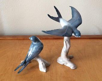Lladro Bird Figurine - Blue Swallows from Spain