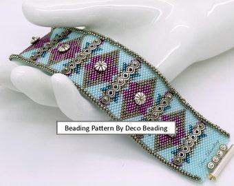 """Peyote Beading PATTERN. DIGITAL DOWNLOAD. Odd Count Peyote Pattern. Small Peyote Bracelet Pattern. """"Vivian's"""" Embellished. DecoBeading ."""