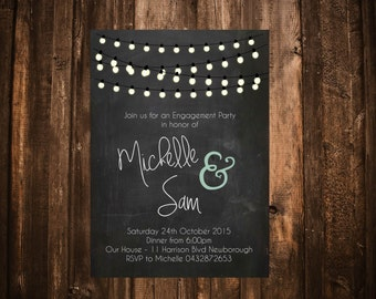 Chalkboard & Lights Engagement Invitation; Printable or set of 10