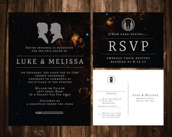 Star Wars Wedding Invitations; Printable OR set of 25
